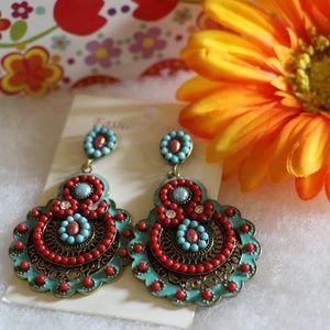 New Boho Earrings Turquoise & Red Dangle Festival